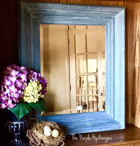 $25 Designer mirror makeover using chalk paint and Miss Mustard Seed's White Wax