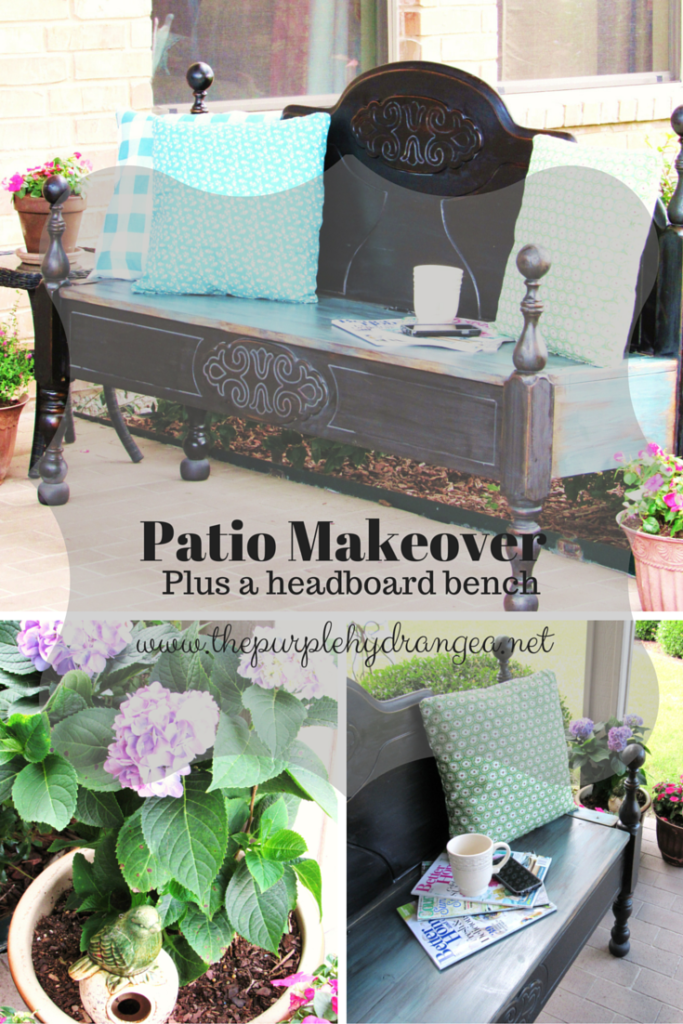 My patio makeover is complete with new pillows, plants, and a DIY headboard storage bench.