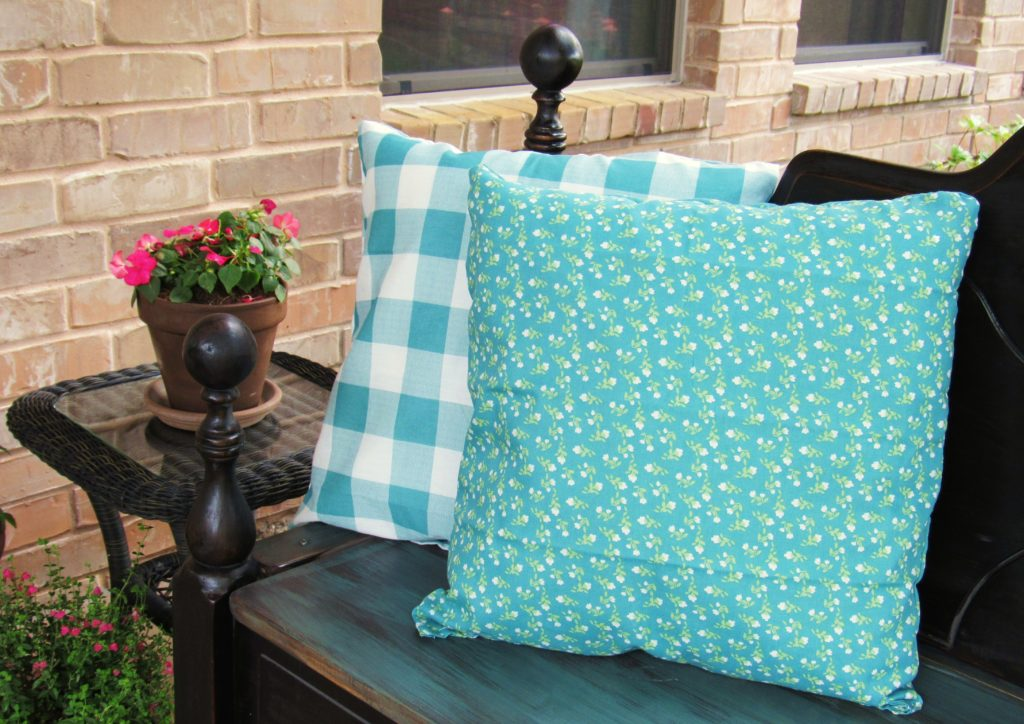 Hand sewn pillows from napkins from The Pioneer Woman's Flea Market Collection
