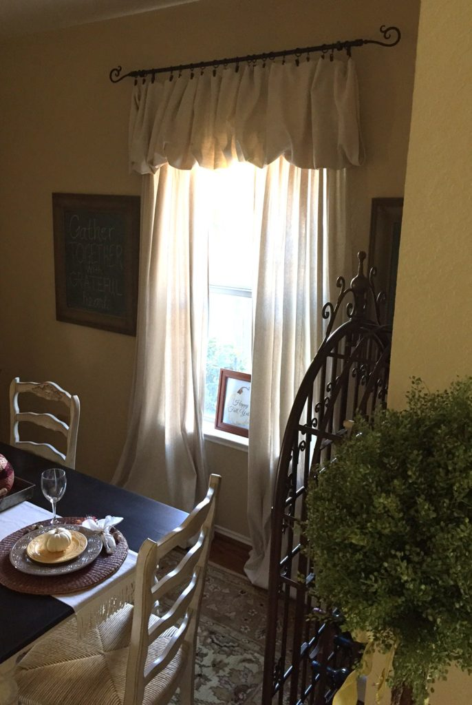Dining Room Makeover Reveal complete with drop cloth curtains.