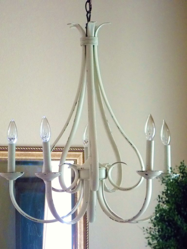 I used Sherwin Williams Kilim Beige mixed with Diva of DIY's Chalk Mix to complete my dining room chandelier makeover.