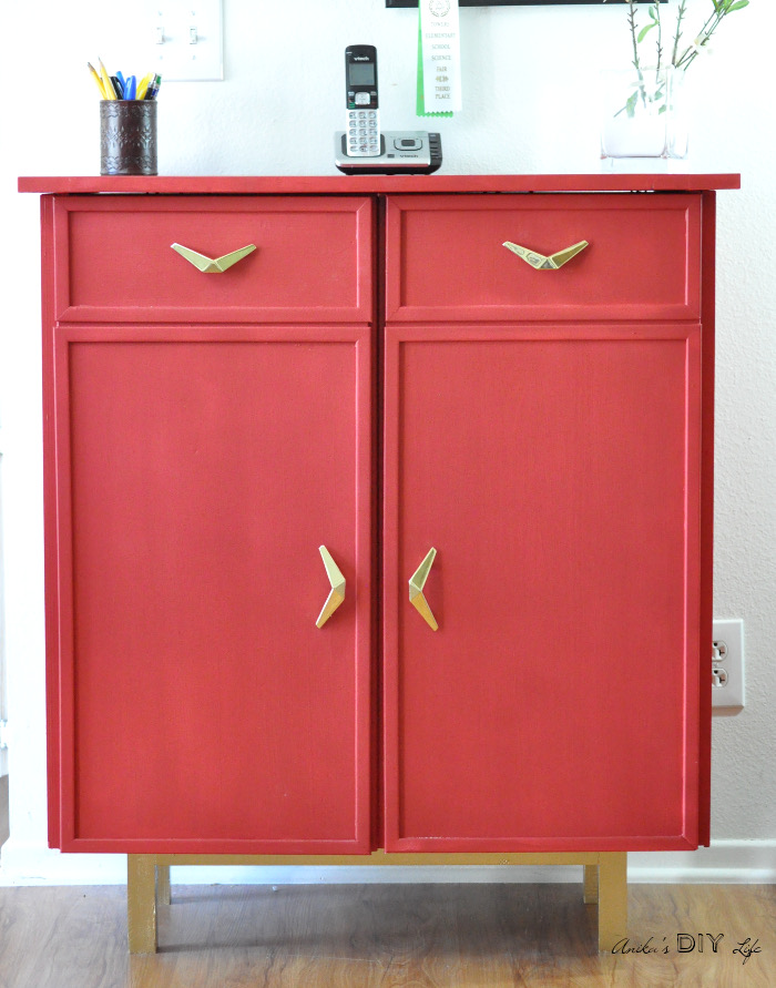This Ikea Ivar cabinet was painted using a sample size paint in Red Brush by Olympic.