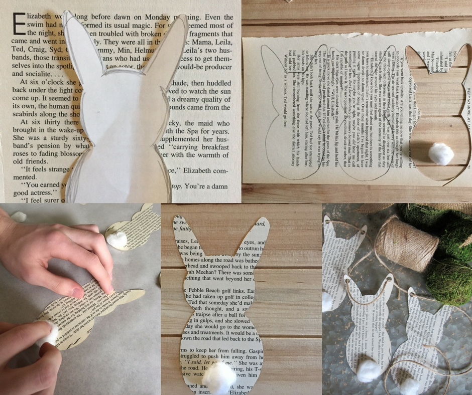 You can make this simple spring book page bunny garland with supplies you probably already have around the house. Simple and inexpensive.