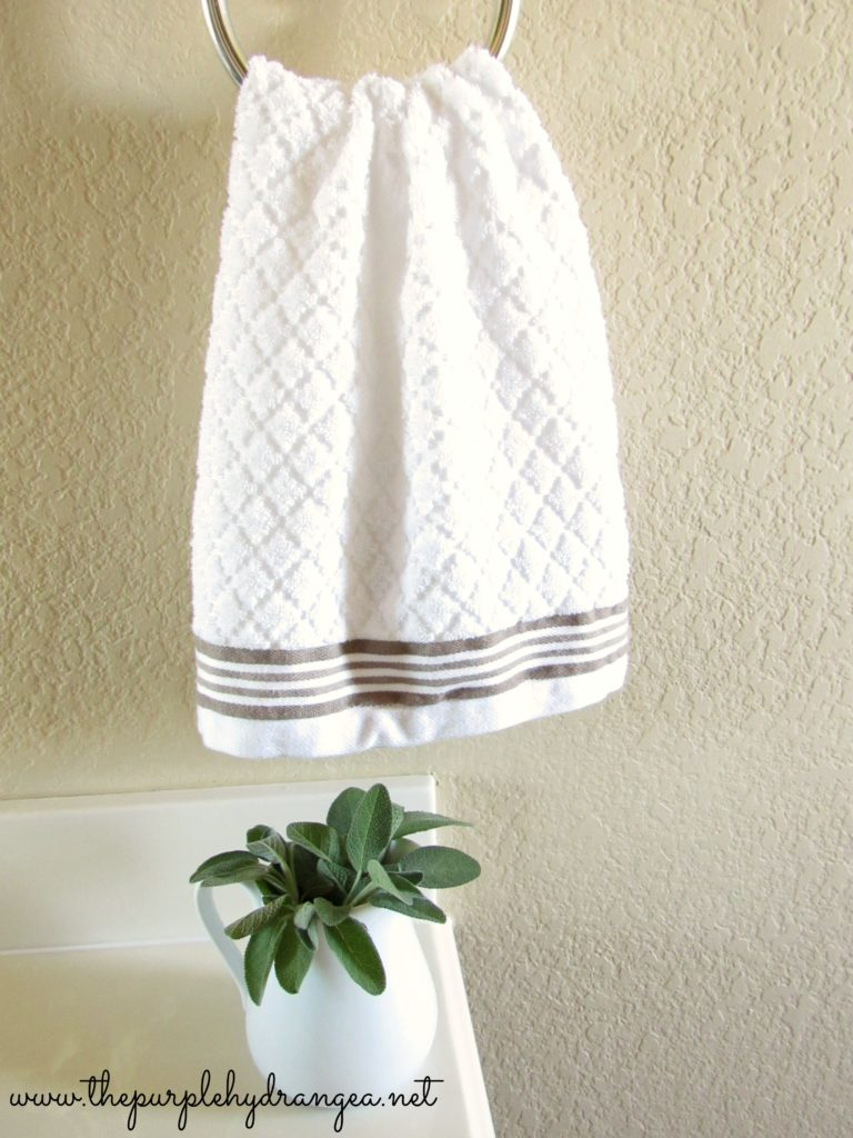 Textured grain sack stripe hand towel. Master Bathroom Makeover.