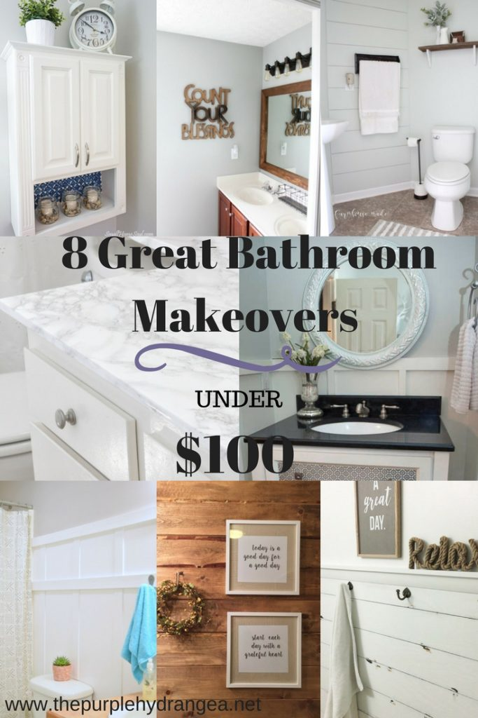 I've rounded up 8 great bathroom makeovers and they are all under $100!