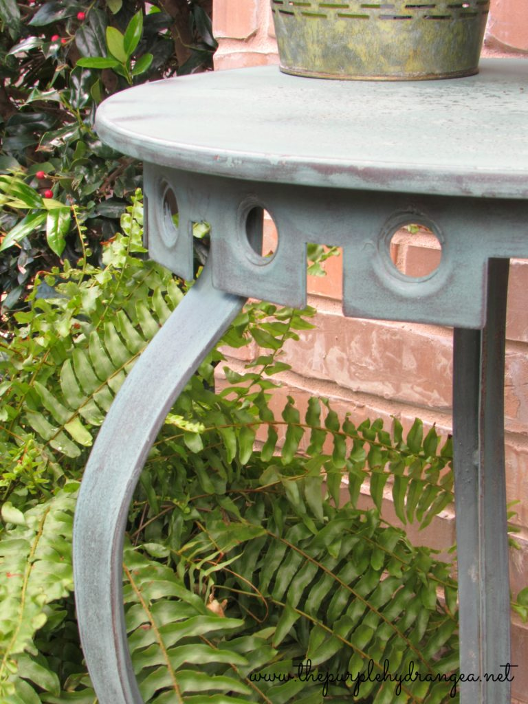 I created a custom color mix using Miss Mustard Seed's Milk Paint for my trash to treasure patio table rescue.