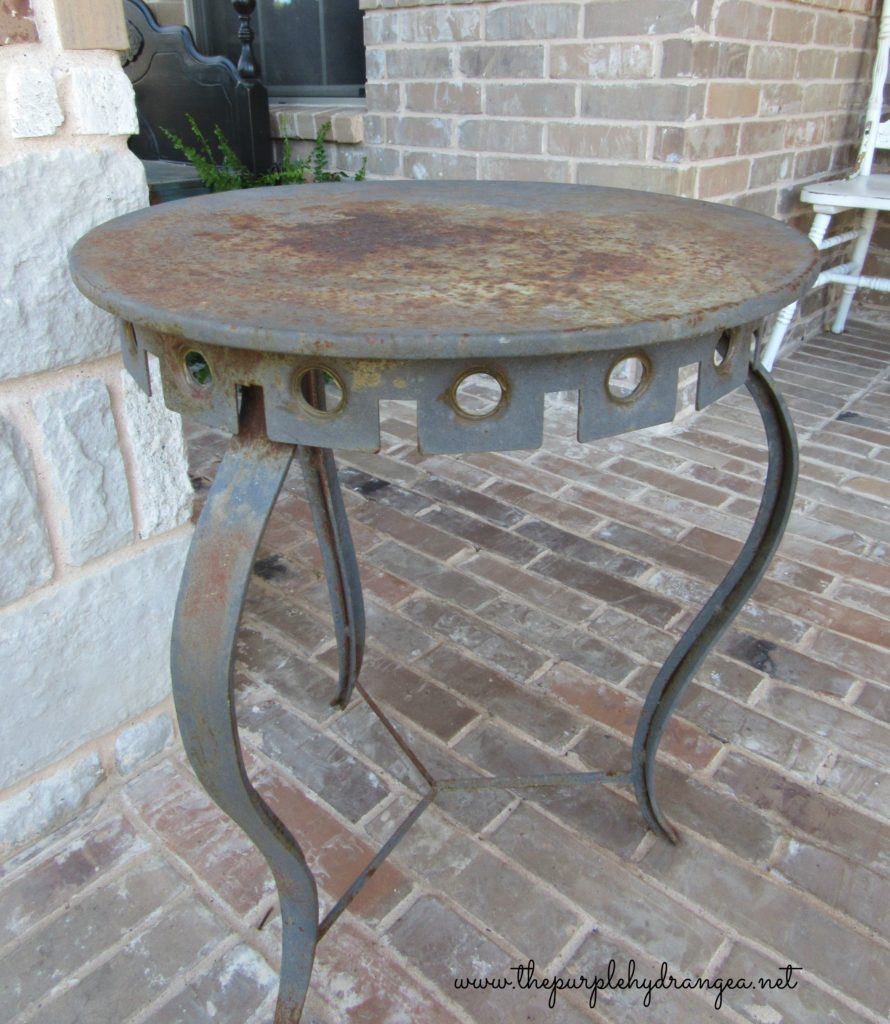 This is my trash to treasure patio table rescue story. I saved this table from it's rusty and crusty existence using Miss Mustard Seed's Milk Paint.