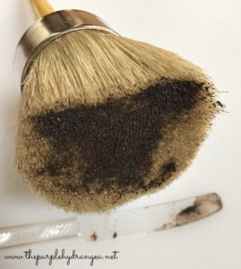 Investing in a good quality wax brush makes a big difference when you are applying dark wax to painted furniture.