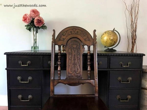 Black painted furniture adds drama to any room, especially in an office space. This piece was created by Just the Woods.