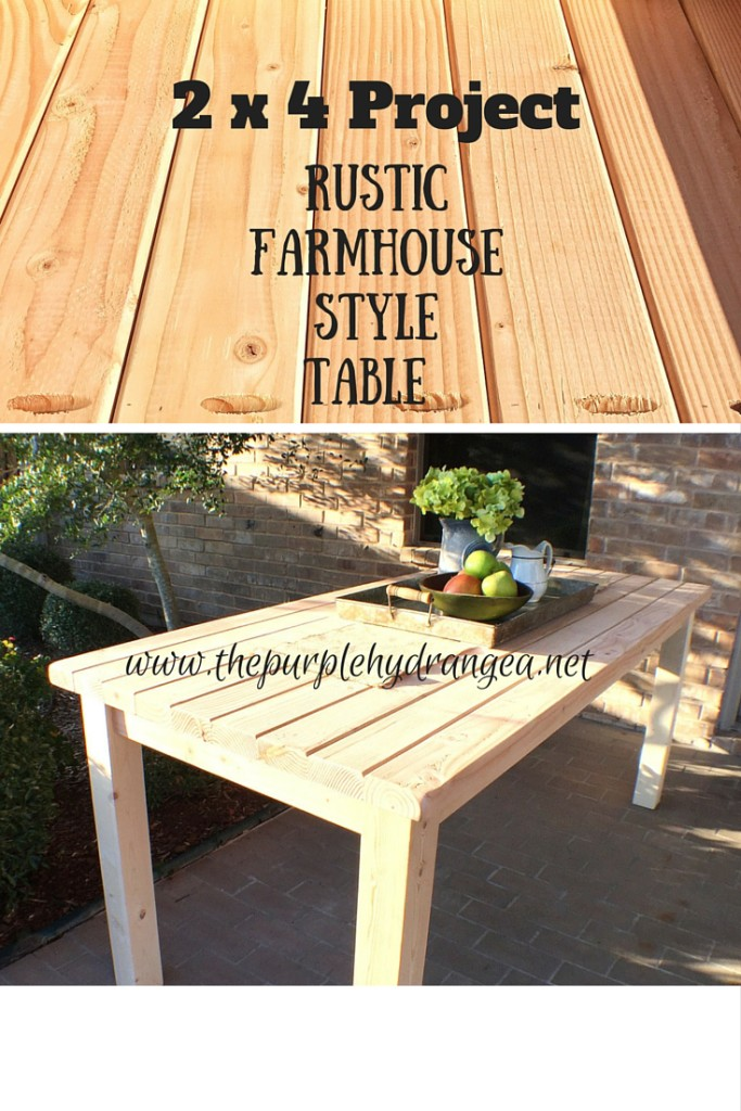 Our first 2 x 4 project is this rustic farmhouse style table that costs less than $100 to build.