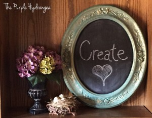 Repurposed framed art canvas into a chalkboard.