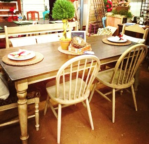 Custom built farm style table and bench by The Purple Hydrangea