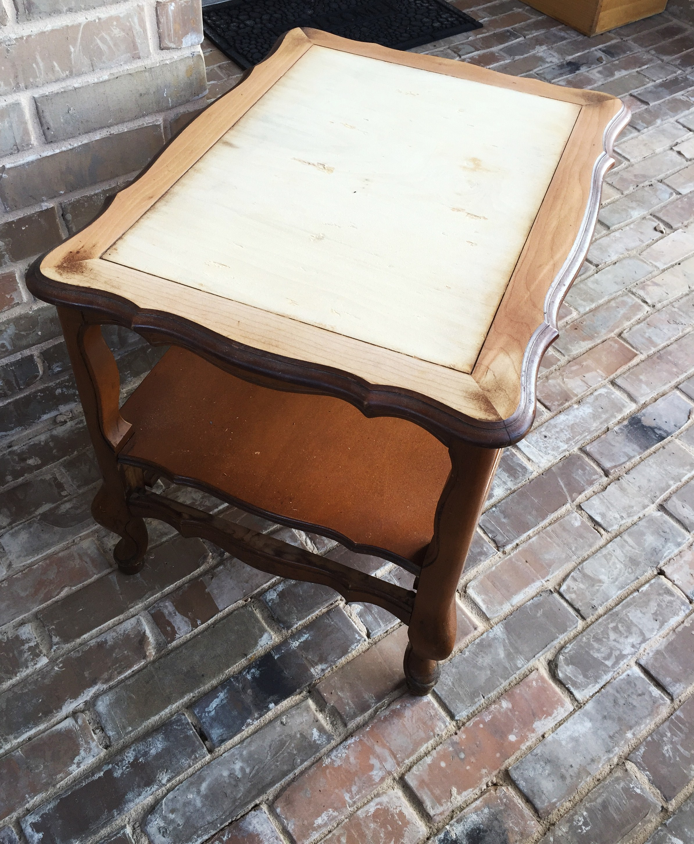 French Provincial End Table With Veneer Removed