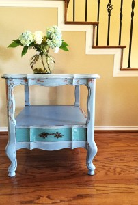 Chippy French Provincial end table refinished using Miss Mustard Seed's Milk Paint.
