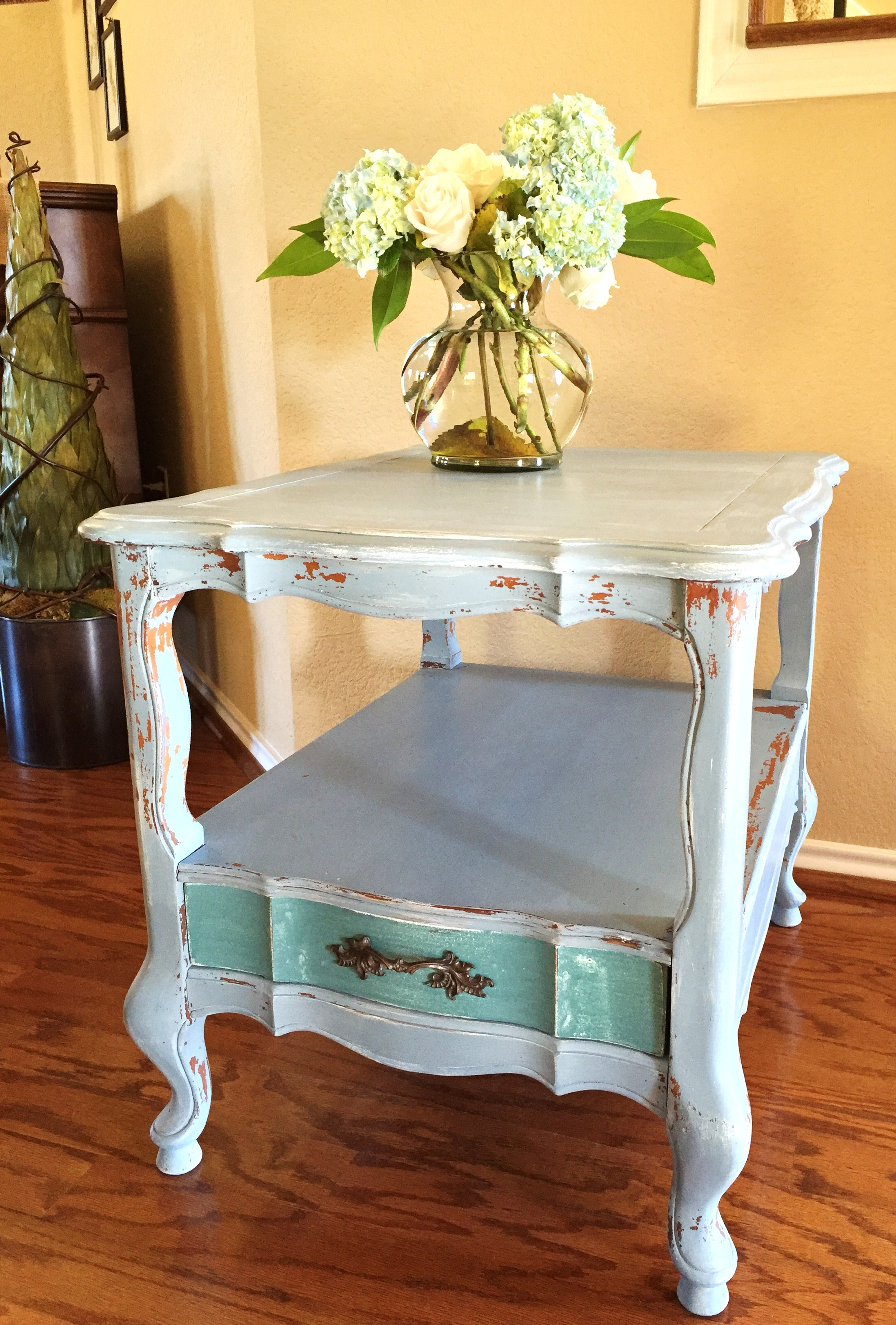 French Provincial End Table Refinished In Miss Mustard Seedu0027s Milk Paint.  Chippy Finish Is A