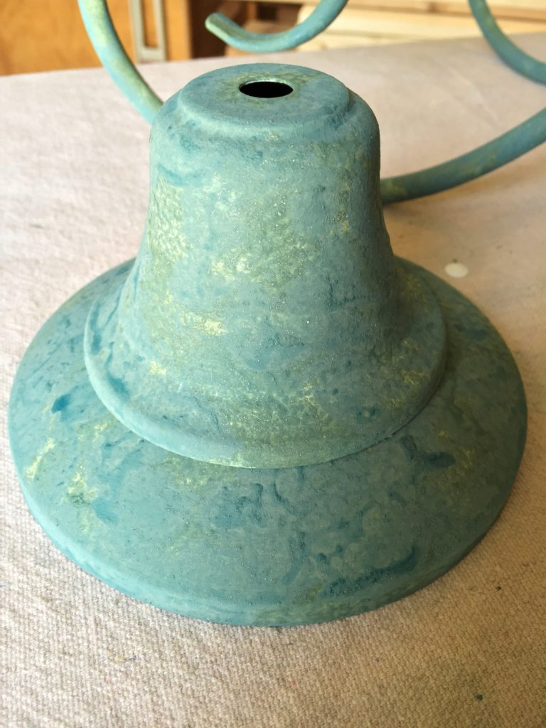 Chandelier makeover using a faux verdigris finish