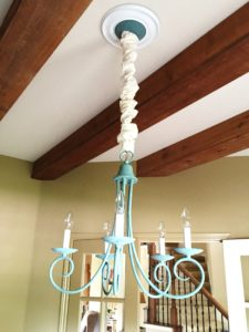 My $5 chandelier makeover is complete with a faux verdigris finish using Miss Mustard Seed's Milk Paint.