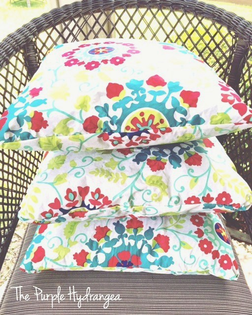 New pillow covers sewn from a vinyl table cloth.