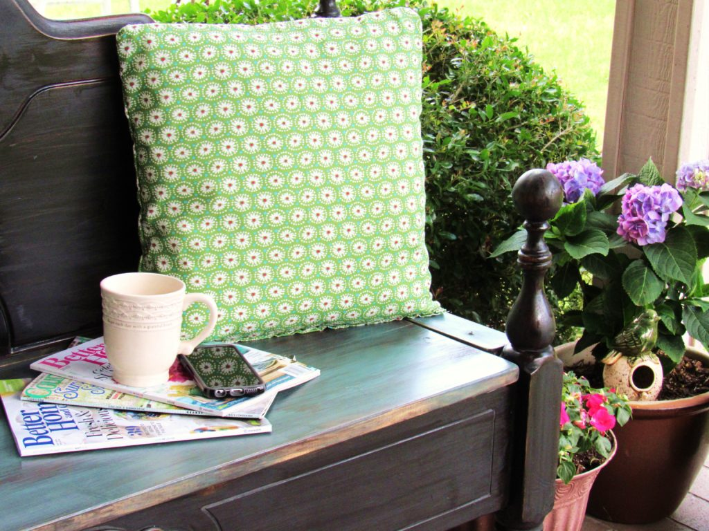 Hand sewn pillows from napkins.
