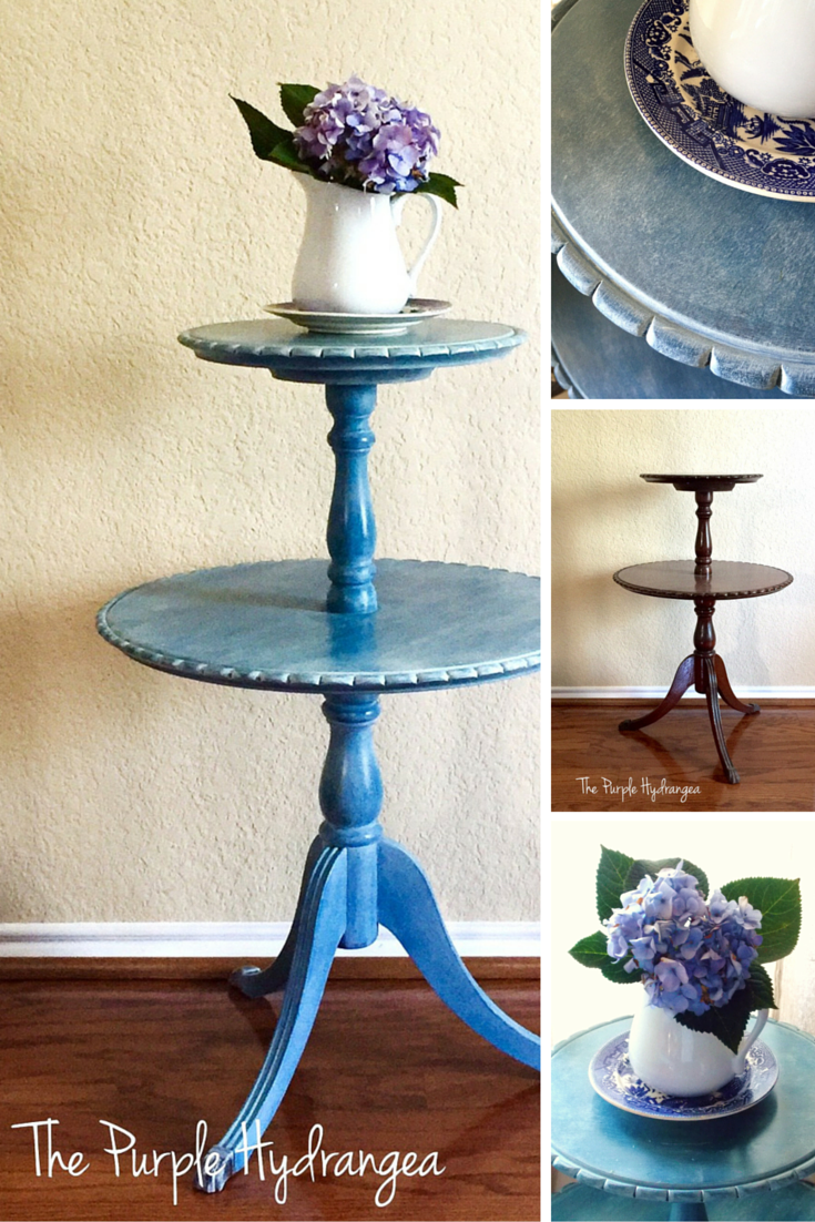 This Duncan Phyfe style pie crust table makeover using Miss Mustard Seed's Milk Paint in Flow Blue, sealed with white wax.