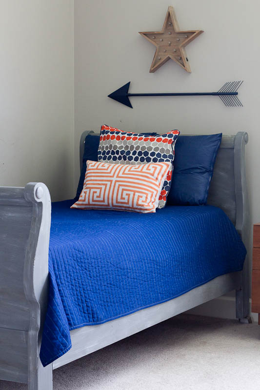 This beautiful sleigh bed was given a face lift using an 8 ounce sample paint color.