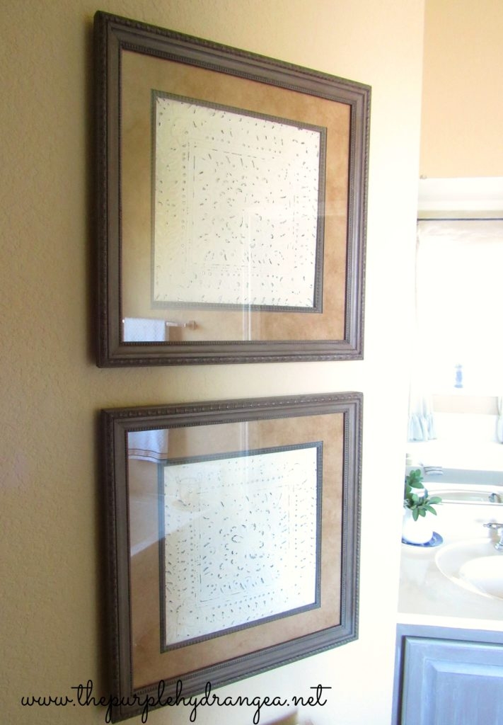 New artwork using painted tiles in my master bathroom makeover.