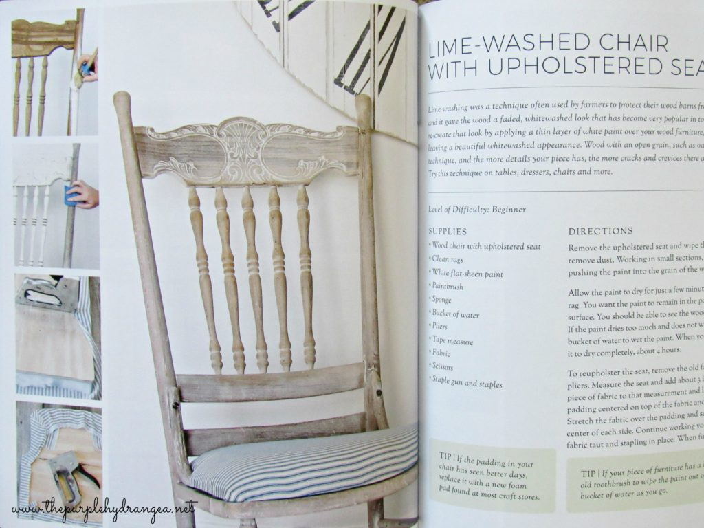 This lime washed finish is just one of the DIY projects to add farmhouse style to your home found in A Touch of Farmhouse Charm by Liz Fourez.