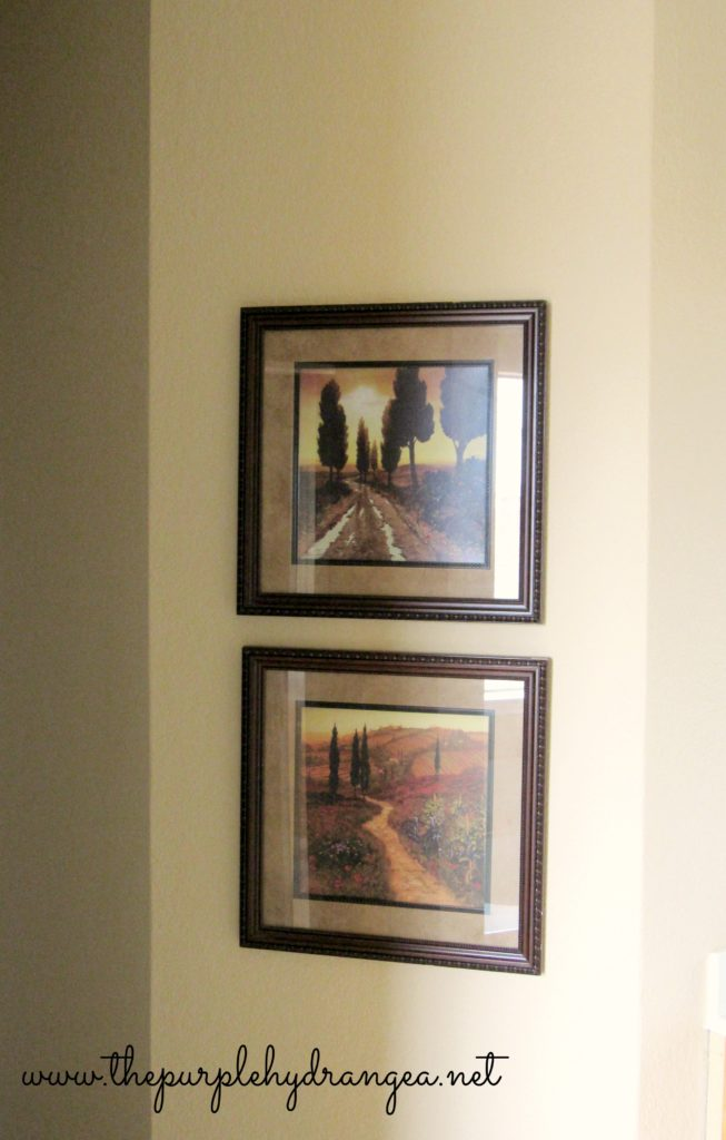 Framed prints in my master bathroom.