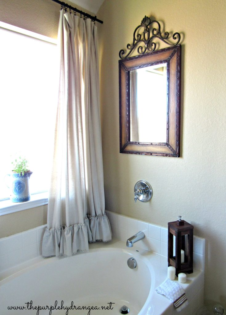 My version of a Pottery Barn shower curtain that didn't cost me $99. $100 Master bathroom makeover.