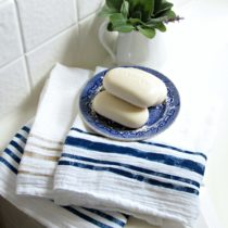 If you need a budget friendly gift idea, these DIY grain sack stripe towels are simple and under $10 to create.