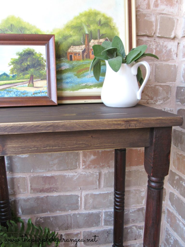 This DIY farmhouse style side table was pretty easy to build using a few scrap wood pieces and some Miss Mustard Seed's Milk Paint.