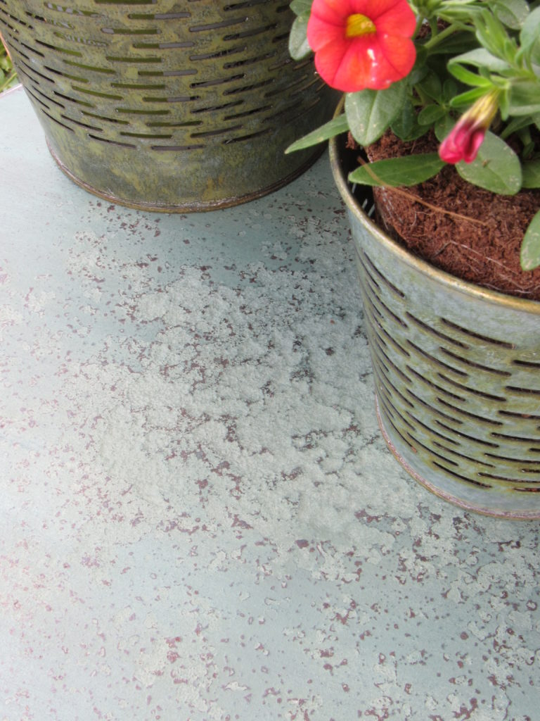 Patio table trash to treasure makeover using Miss Mustard Seed's Milk Paint in a custom color mix.