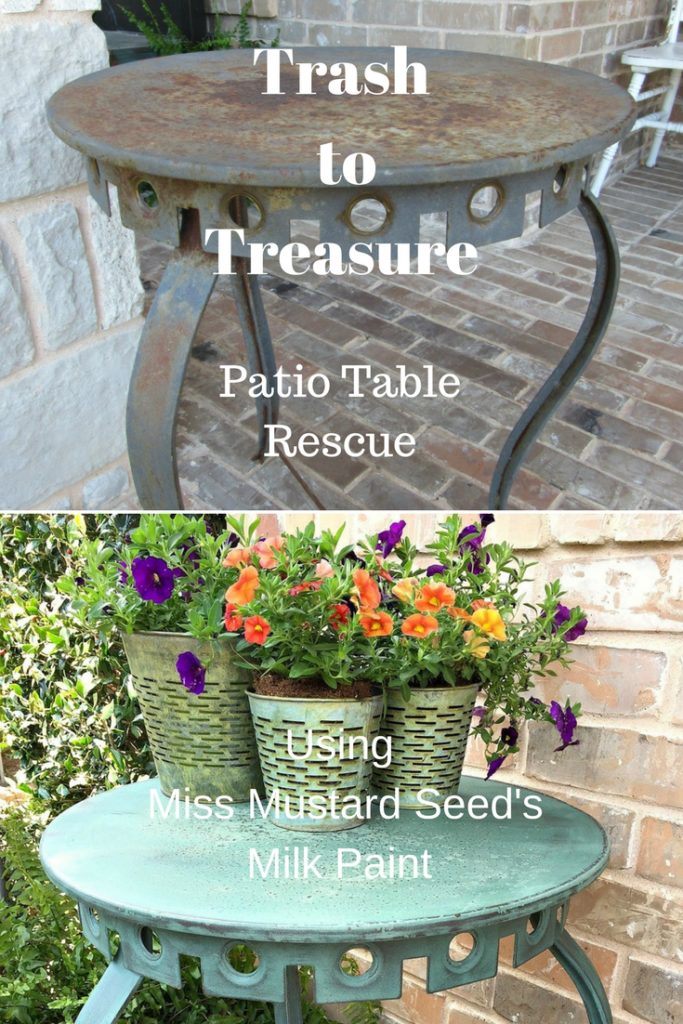 This patio table trash to treasure makeover is just one of the many outdoor projects you don't want to miss from The Trash to Treasure Blog Hop: The Outdoor Edition.