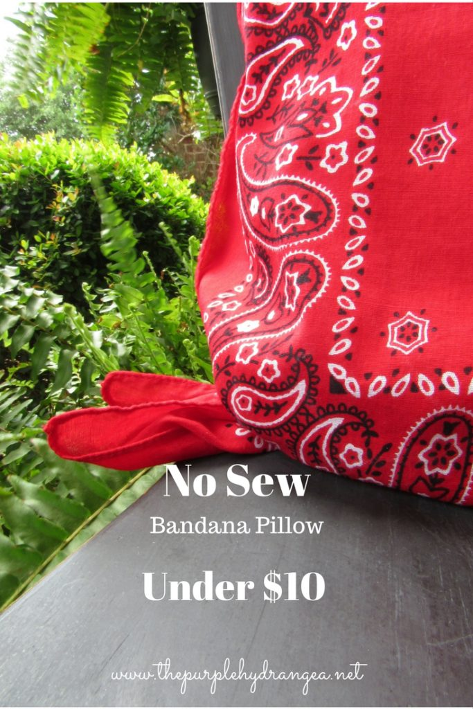 Grab a pile of bandanas and make this quick, easy, and inexpensive no sew bandana pillow.