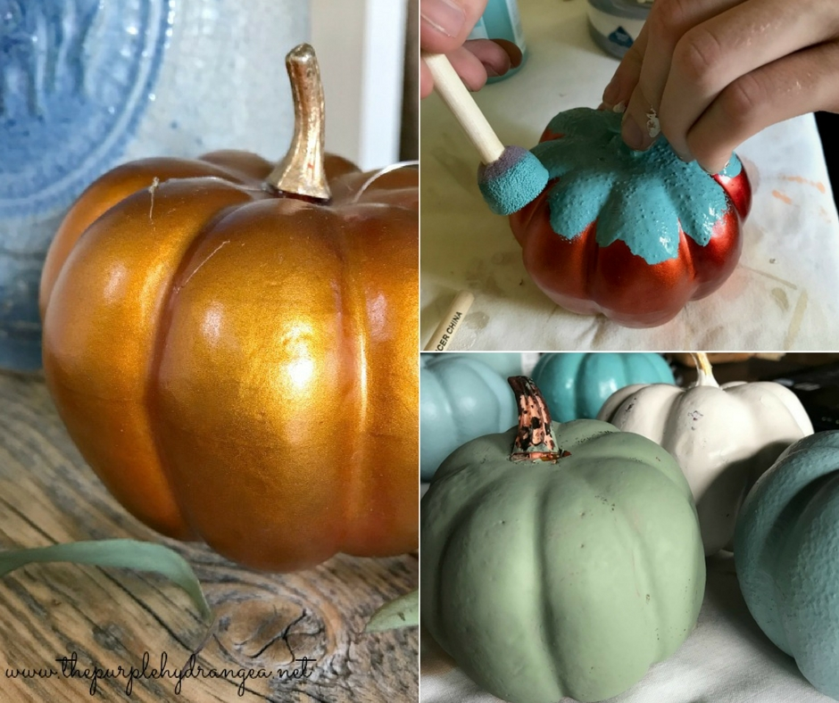 DIY Painted Fall Pumpkins. These .98 Dollar Tree pumpkins are so easy to transform using a little paint to match your home decor.
