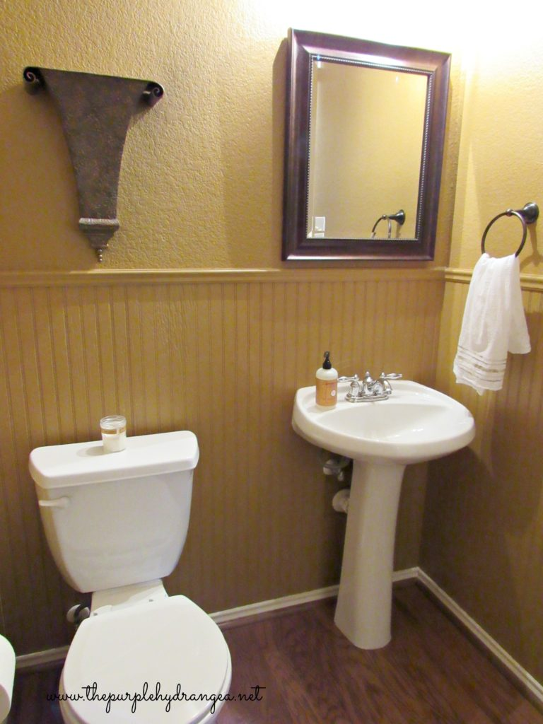 This powder room makeover was completed in 48 hours and came in well under my $100 budget.