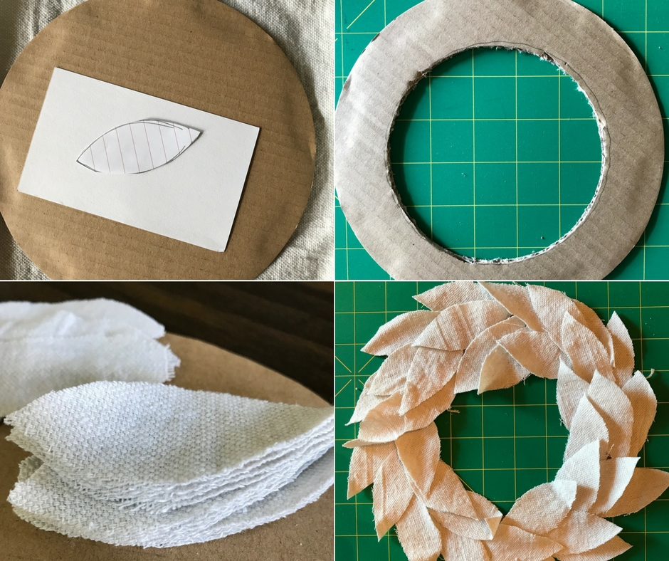 A drop cloth wreath is simple to create with a glue gun, scissors, cardboard, and scrap of drop cloth.