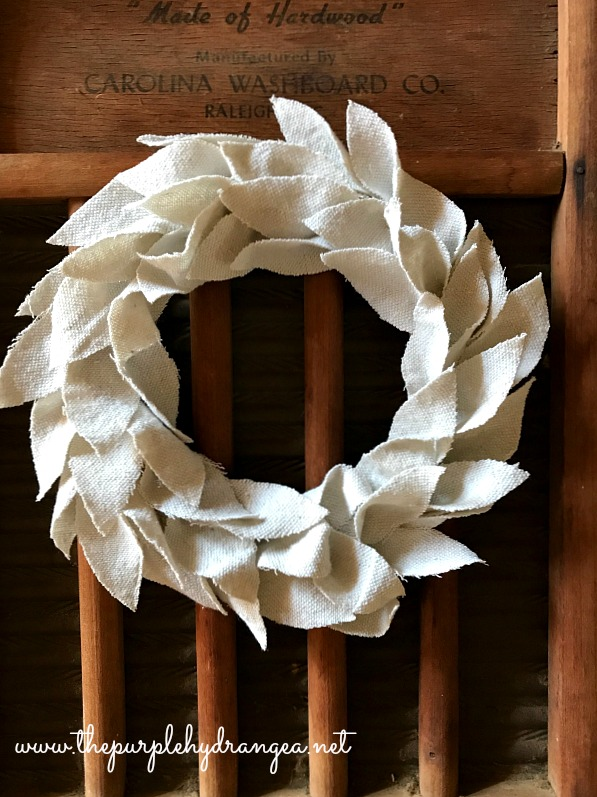 Sneak peek of my drop cloth wreath project which will grace the walls as part of the big reveal of my kitchen makeover.