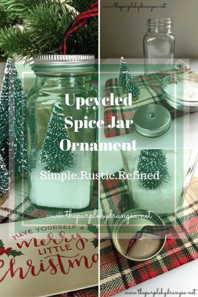Take one empty spice jar, add Epsom salts and a bottle brush tree to make an extra cute and inexpensive upcycled Christmas gift ornament.