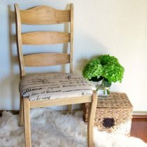This farmhouse style chair has been given a springy makeover using paint stripper. A furniture makeover without a drop of paint.