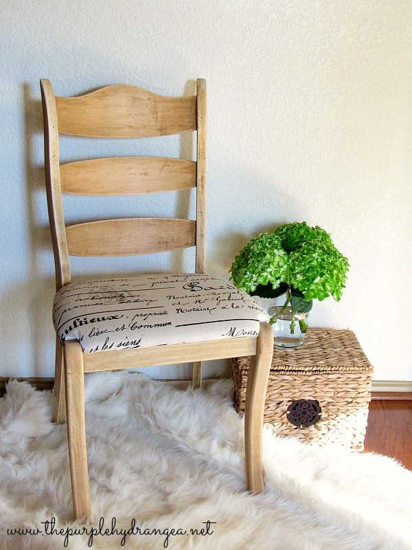 Using paint stripper I unpainted this cute chair to give it a springy makeover.